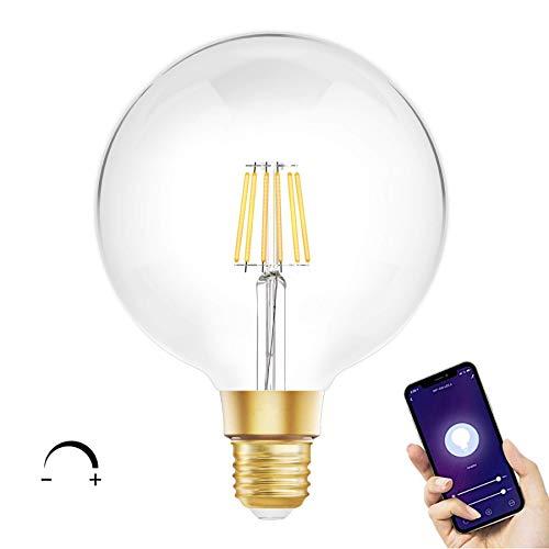 Bombilla Inteligente WiFi Filamento Vintage G125 E27 LED Regulable compatible con Alexa, Google Home, Smart Life, Tuya e IFTTT 8W 2700K - Smartfy