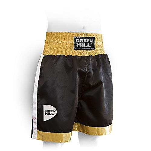 GREEN HILL Pantaloncini Pugilato Piper Boxe Pugile Professionista E DILETTANTE (Nero Oro Bianco, L)