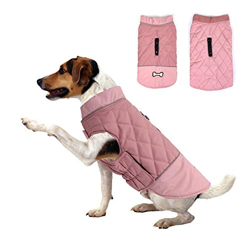 Winter Dog Coat Reversible Dog Jackets Bone Waterproof Reflective Cold Weather Pet Wearing for Small Medium Large Dogs (Pink, M)
