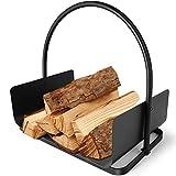 Amagabeli Chimenea Madera Cesta 45 x 30 x 43cm Cesta para Leña con Mango leña Cesta Acero titular de la leña Chimenea de madera cesta de leña Soporte de madera Cesta de chimenea Negro