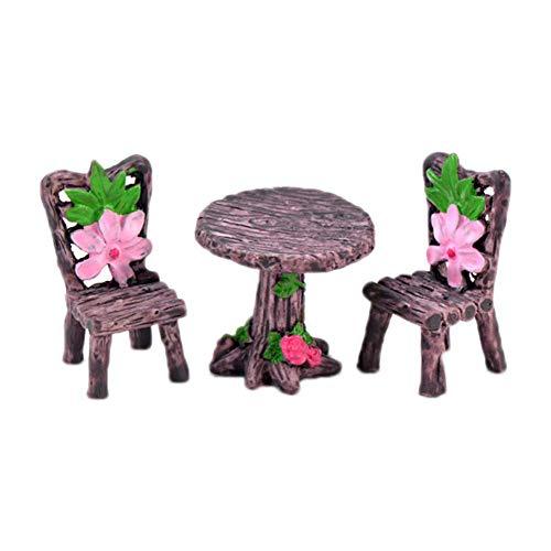 3X Fairy Garden Ornaments Resin Miniature Flower Table Chairs DIY Dollhouse Garden Bonsai Moss Micro Landscape Decoration Durable and Practicaldurable