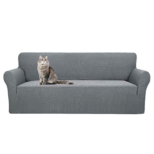 YEMYHOM Couch Cover Latest Jacquard Design High Stretch Sofa Covers for 3 Cushion Couch, Pet Dog Cat Proof Slipcover Non Slip Magic Elastic Furniture Protector (Sofa, Light Gray)