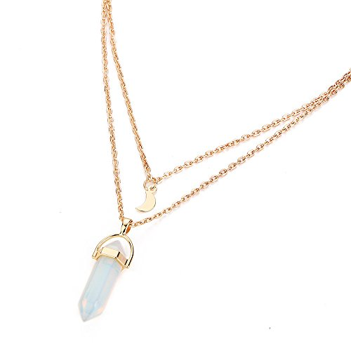 Clearance Deals Pendant Necklace Womens Natural Gemstone Crystal Reiki Silver Stone Bead Pendant Necklace Jewelry (G)