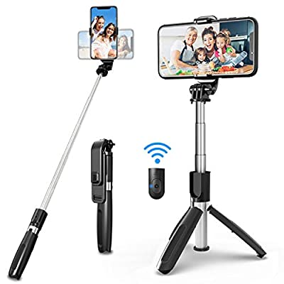 SYOSIN Selfie Stick Tripod, All in One 40 Inch Extendable Phone Tripod with Detachable Wireless Bluetooth Remote Adjustable Gopro DSLR Camera Tripod Compatible with iPhone 11/XS Max/XS/X Android Phone from SYOSIN