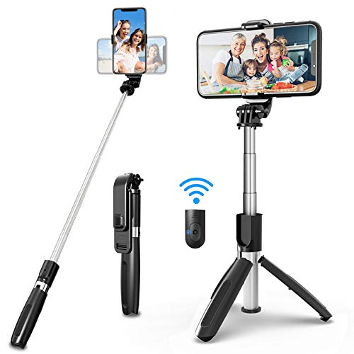 SYOSIN Selfie Stick Tripod, 4 in 1 Extendable 40 Inch Phone Tripod with Detachable Wireless Remote Adjustable Gopro Camera Tripod Compatible with iPhone 12 11 Pro Max XS XR 8 7 Plus Android