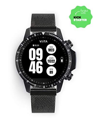 Viita Watch Active HRV snelheidsmeter met mesh-armband, zwart/zwart
