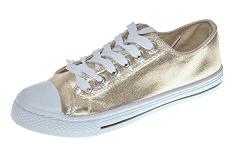 Emma Shoes - Zapatillas deportivas para mujer con espalda abierta Baltimor Plimsoll, color Dorado, talla 38 EU