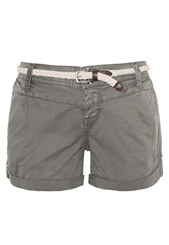 Eight2Nine Damen Chino Shorts Hose mit Flecht-Gürtel Middle-Grey M