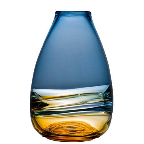 Vase Maison Salon en Verre Décoration Créatif Arrangement De Fleurs Ornement (Color : Blue, Size : 28 * 18cm)