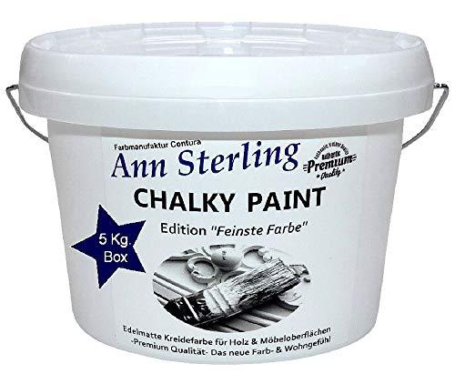 XL 5Kg. Ann Sterling Kreidefarbe Shabby Chic Farbe: Chalky White/Weiß 5Kg. Lack Chalky Paint