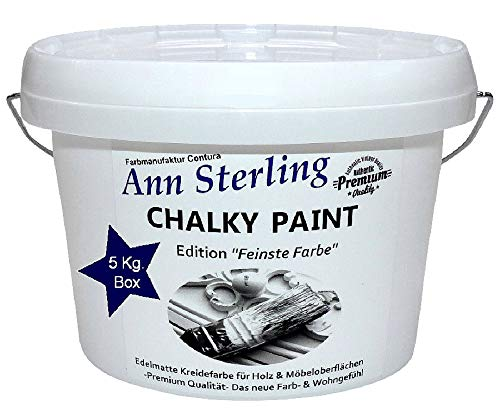 XL 5Kg. Ann Sterling Kreidefarbe Shabby Chic Farbe: Chalky White/Weiß 5Kg. Lack Chalky Paint