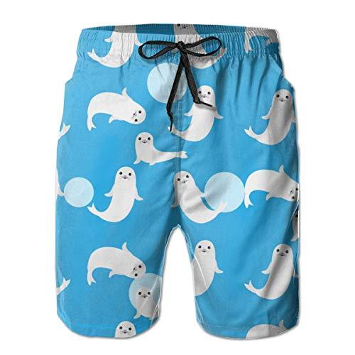 EU Süße Baby-Schwimmhose, Seelöwe auf blauem Hintergrund, atmungsaktiv, schnelltrocknend, Outdoor, Wandern, Sport, Freizeit, Skateboardhose. Gr. XXL, weiß