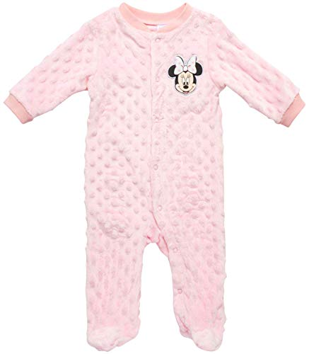 Disney Newborn Baby Footie Pajamas - One Piece Popcorn Velour Footed Sleep and Play Onesie (Boys and Girls), Minnie Pink, Size 6-9M