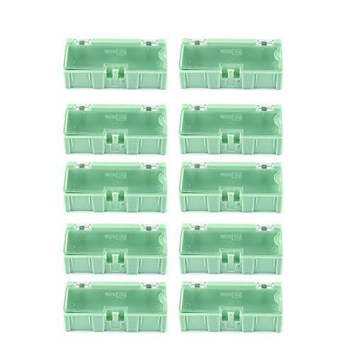 QiKun-Home 10pcs Herramienta pequeña Objeto de Tornillo Piezas de componentes electrónicos Caja de Almacenamiento Caja de Laboratorio SMT SMD Aparece automáticamente Contenedor de Parche Verde 10pcs