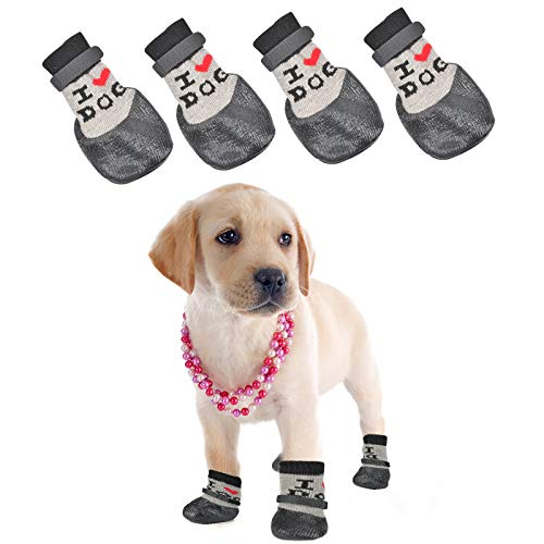 4 PACK Small Dog Socks Non Anti Slip Skid Grippers Shoes Booties 3.94x1.34x2.16Inch for Dogs Cat Traction Control Grip Pads for Hardwood Floors Indoor Wear Pet Paw Double Protection Sock Replacement