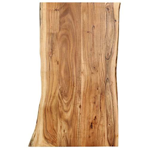 vidaXL Akazienholz Massiv Tischplatte Küche Esstischplatte Massivholzplatte Holzplatte Arbeitsplatte für Esstisch Küchentisch Baumkante 100x60x2,5cm