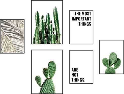 ELAFI® Premium Poster Set | Schöne Bilder Sprüche Zitate als Wohnzimmer Deko | Posterset 6X - 2X DINA3 & 4X DINA4 ohne Bilderrahmen | Bilder für Schlafzimmer | Kaktus Poster (Cactus Wall)