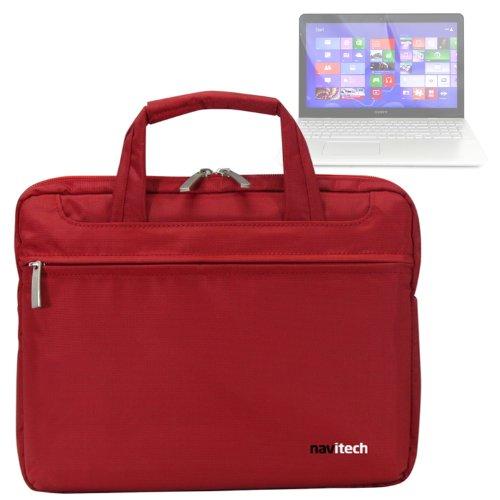 Navitech Rotes Case/Cover/Tasche für Laptops/Notebooks & Tablet PC's für das Sony VAIO Fit 15
