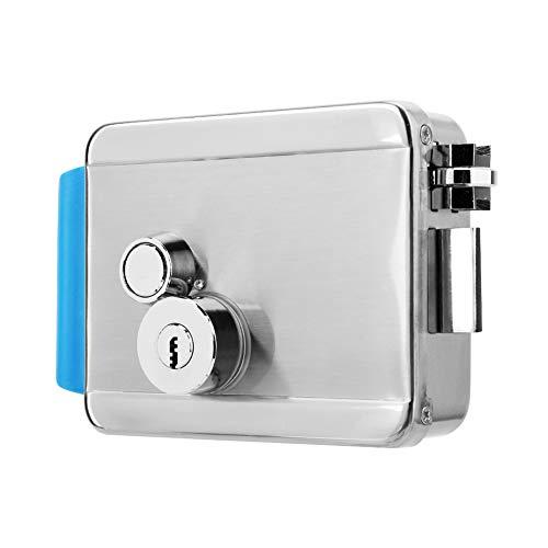 Cerradura de control eléctrico, cerradura electrónica de acero inoxidable, control de acceso a la puerta, con llave y desbloqueo manual, soporte para puerta de metal de vidrio de madera, para la segur