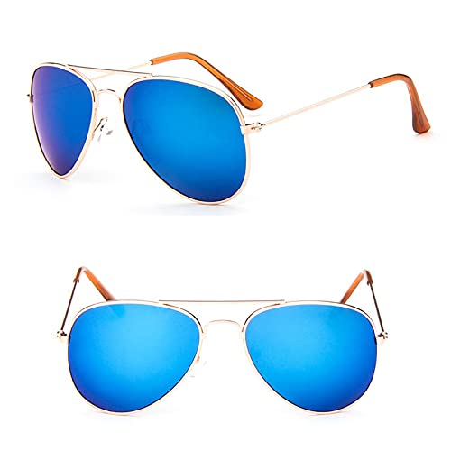 YiXing Gafas de sol clásicas para niñas, espejo colorido para niños, marco de metal, lentes de compras, color dorado y azul