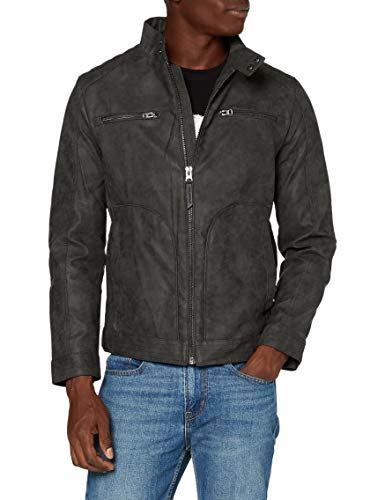 Springfield 488194 Faux Leather Jacket, Gris, L Mens