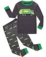 Garbage Truck Little Boys Long Sleeve Grey Pajamas 100% Cotton Sleepwear Size 6