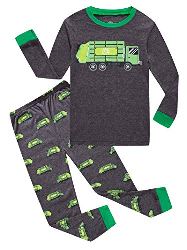 KikizYe Garbage Truck Little Boys Long Sleeve Grey Pajamas 100% Cotton Sleepwear Toddler Size 3T