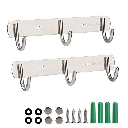 Wall Mount Coat Hook with 3 Hooks, 2 Pack Stainless Steel Over Door Hanger Rack Rustproof Tidy Saves Space for Bathroom Kitchen Bedroom Closet Cabinet Kitchen