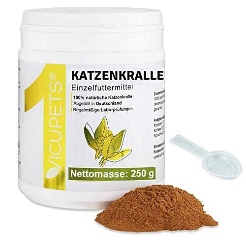 Vicupets® ONE Katzenkralle Pulver für Hunde, Pferde & Katzen I Zur Unterstützung des Immunsystems I 100% Katzenkralle Cat Claws I 250g I Made in Germany