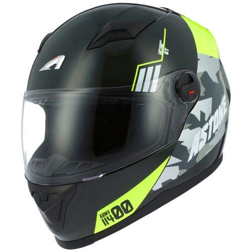Astone Helmets gt2g-army-byxxl casco Moto Integral GT, negro/amarillo, talla 2X L