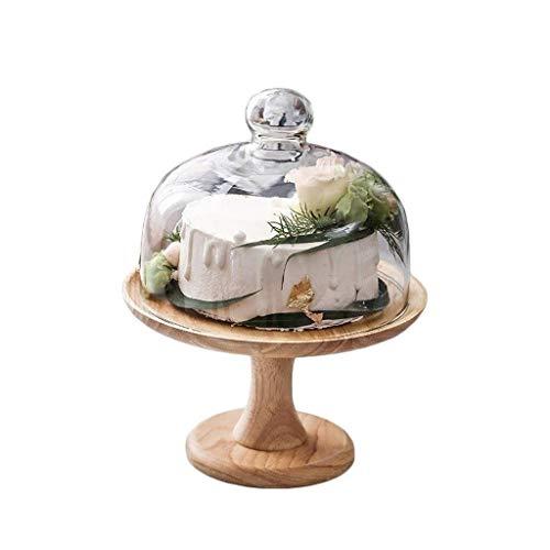 CSQ Platos para tartas con tapa de cristal, bandeja de sándwich de postre de madera, para el hogar, ensalada, sushi, cúpula y servidor de salsa, 8/10 pulgadas, ligero (tamaño: 25,5 x 25,5 x 28 cm)