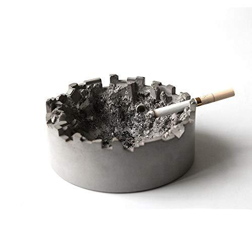 NMLB Cenicero Creativo ruina Cemento cenicero Personalidad del hogar cenicero de hormigón de Agua Clara para Enviar Regalos de Novios