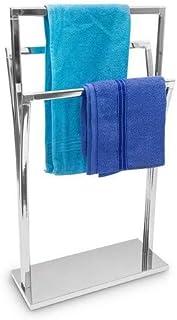 Relaxdays de mano con soporte de acero inoxidable con tapa de 3 varillas de 86 x 50 x 20 cm de superficie de & independiente con cromado toallero de 3 brazos, de diferentes tamaños de alta de mano de barras en un estilo moderno, colour plateado metálico