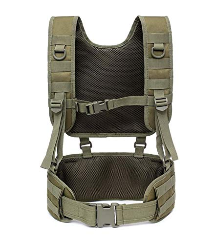 Tactical Padded Battle Belt with Detachable Suspender Straps for Patrol Army Training Outdoors Duty (Green)