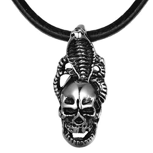 DonDon Collar de Cuero 50 cm para Hombre y Colgante Calavera Cobra de