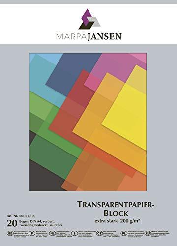 MarpaJansen Transparant papier blok extra sterk 200 g/m2 2-zijdig bedrukt (DIN A4, 20 vellen) -gekleurd gesorteerd, meerkleurig, One Size