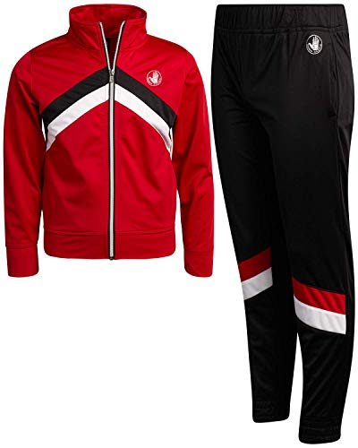 Body Glove Boys' Tricot Jog Set - Full Zip Warm-Up Jacket and Jogger Sweatpants Tracksuit Set, Red/Black, Size 14