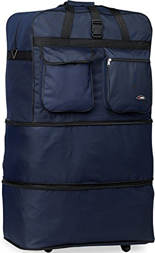 Rolling Wheeled Duffle/duffel Bag/spinner Suitcase Luggage Expandable (30 inch, Navy)