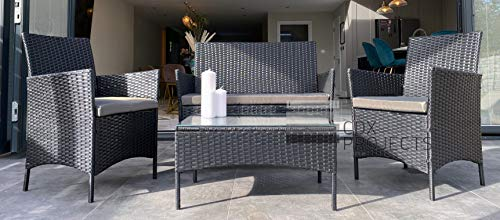 RATTAN GARDEN FURNITURE SET 4 PIECE CHAIRS SOFA TABLE SEATER PATIO CONSERVATORY(Black)