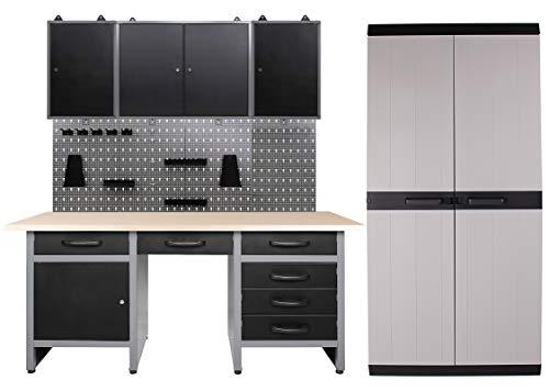 Ondis24 Werkstatteinrichtung 250 x 60 x 205 (H) cm, Arbeitshöhe 85 cm, mit MEGA XL Schrank, bestehend aus Werkbank, 3 x Werkzeugschrank, Euro-Lochwand mit 22 Haken, Metall, Justierfüße, abschließbar