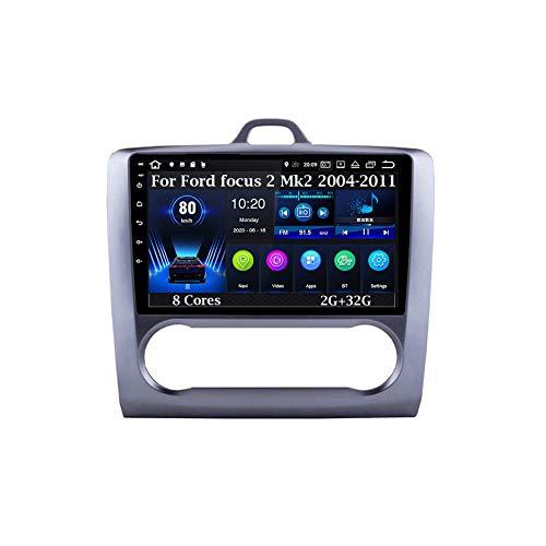 Android 9 Pulgadas Estéreo GPS Navi De Coches Reproductor De Vídeo para Ford Focus 2 Mk2 2004-2011 8 Cores 2G+32G Car Player con Pantalla Coche Conecta Y Reproduce Bluetooth Multimedia SWC