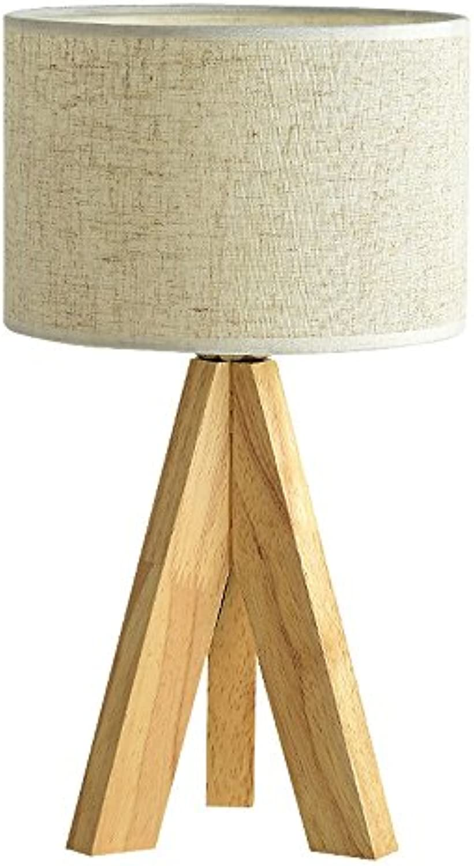 Europische Einfache Tischlampe Kreative Stativ Holz Tischlampe Stoff Lampenabdeckung Nachttischlampe Für Hotel Schlafzimmer Wohnzimmer Studie, E27 (Farbe   Wei-L)