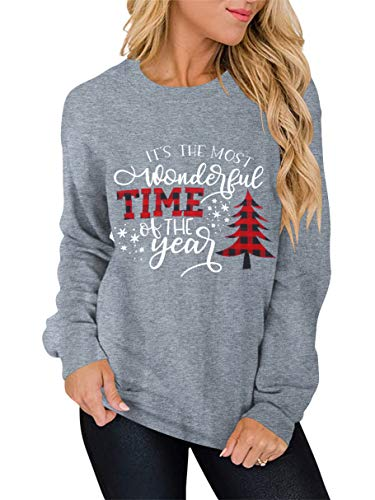 ANTSZONE Merry Christmas Holiday Shirts for Women - Casual Long Sleeve Crewneck Pullover Sweatshirt Tops (9# Heather Grey, L) 280-SD013-huise-L
