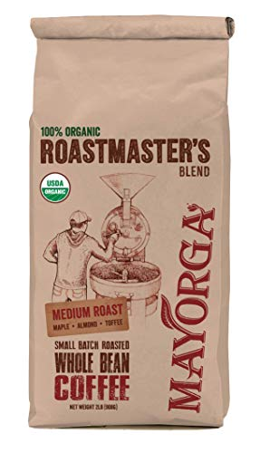 Mayorga Organics Roastmaster's Blend, Medium Roast Whole Bean Coffee, 2lb Bag, Specialty-Grade, USDA Organic, Non-GMO Verified, Direct Trade, Kosher