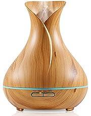 فواحه ترطيب وتعطير جو الترا سونيك ليد سبع الوان متغيرة سعة 300 مل، لون خشبي