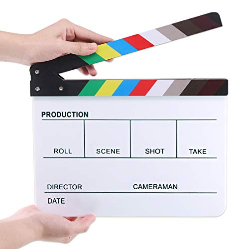 Hilitchi Acrylic Plastic Slate 25x30cm/10x12' Dry Erase Director's Film Clapboard Cut Action Scene Clapper Board Slate with Color Sticks