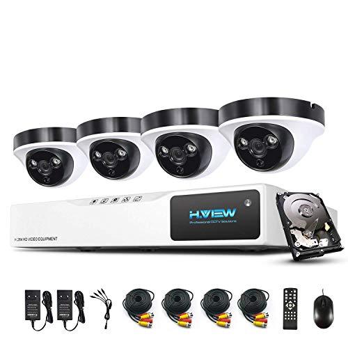 1080P Überwachungskamera System H.View 8CH AHD DVR und 4 Außen 1080P Dome Überwachungskamera Set für Innen und Außen 1TB Festplatte Bewegungsmelder IR Nachtsicht