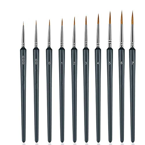 AINOLAN Detail Pinsel, Pinselset Malen für Aquarell, Öl, Acryl, Nail Art & Modelle,10 Stück Modellbau Pinsel Set
