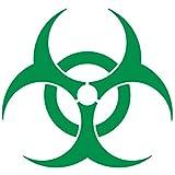 CUSHYSTORE Bio Hazard Bio-Hazard Biohazard Reflective Decal Sticker Vinyl for Car Hardhat Green 3', 2 Pack