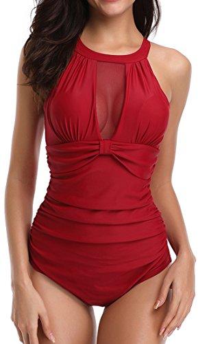 Chaos World Mujer Traje De Baño De Una Pieza Cuello Colgando Espalda Abierta Bikini Push Up(Rojo,(EU 44-46) 3XL)